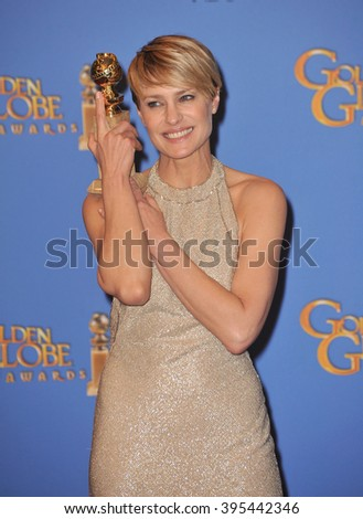LOS ANGELES, CA - JANUARY 12, 2014: Robin Wright in the press room at the 71st Annual Golden Globe Awards