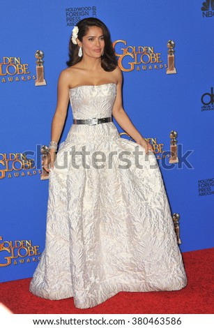 LOS ANGELES, CA - JANUARY 11, 2015: Salma Hayek at the 72nd Annual Golden Globe Awards at the Beverly Hilton Hotel, Beverly Hills. - stock photo