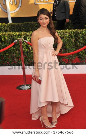 LOS ANGELES, CA - JANUARY 18, 2014: Sarah Hyland at the 20th Annual Screen Actors Guild Awards at the Shrine Auditorium.  - stock photo