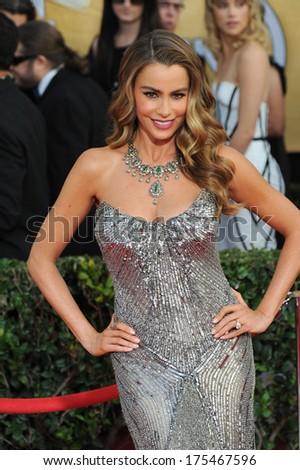 LOS ANGELES, CA - JANUARY 18, 2014: Sofia Vergara at the 20th Annual Screen Actors Guild Awards at the Shrine Auditorium.  - stock photo