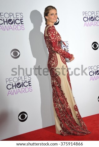 LOS ANGELES, CA - JANUARY 8, 2014: Stana Katic in the pressroom at the 2014 People's Choice Awards at the Nokia Theatre, LA Live.