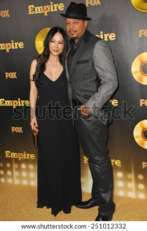 "LOS ANGELES, CA - JANUARY 6, 2015: Terrence Howard & wife Miranda at the premiere of Fox's new TV series ""Empire"" at the Cinerama Dome, Hollywood.  - stock photo"