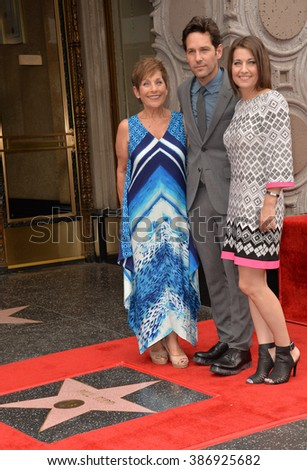 LOS ANGELES, CA - JULY 1, 2015: Actor Paul Rudd with mother & sister on Hollywood Blvd where he was honored with the 2,554th star on the Hollywood Walk of Fame. - stock photo