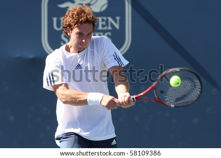LOS ANGELES, CA. - JULY 29: Alejandro Falla of Columibia and Erenests Gulbis of Latvia (pictured) play a match at  the 2010 Farmers Classic on July 29 2010 in Los Angeles.