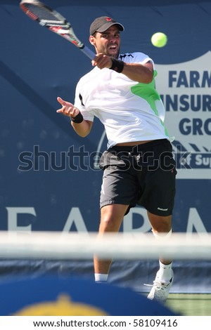 LOS ANGELES, CA. - JULY 29: Alejandro Falla of Columibia (pictured) and Erenests Gulbis of Latvia play a match at  the 2010 Farmers Classic on July 29 2010 in Los Angeles.