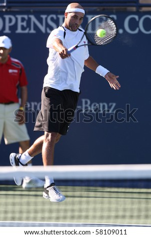 LOS ANGELES, CA. - JULY 29: Benjamin Becker of Germany and [WC] James Blake of USA (pictured) play a match at  the 2010 Farmers Classic on July 29 2010 in Los Angeles.