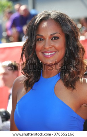 LOS ANGELES, CA - JULY 16, 2014: Boxer Laila Ali, daughter of Muhammed Ali, at the 2014 ESPY Awards at the Nokia Theatre LA Live. - stock photo