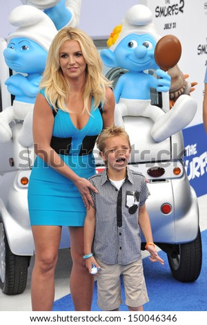 """LOS ANGELES, CA - JULY 28, 2013: Britney Spears & son Sean Federline at the Los Angeles premiere of her movie """"The Smurfs 2"""" at the Regency Village Theatre, Westwood.  - stock photo"""