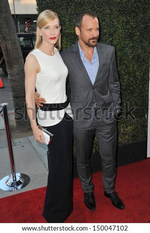 "LOS ANGELES, CA - JULY 24, 2013: Cate Blanchett & Peter Sarsgaard at the Los Angeles premiere of their movie ""Blue Jasmine"" at the Samuel Goldwyn Theatre, Beverly Hills."