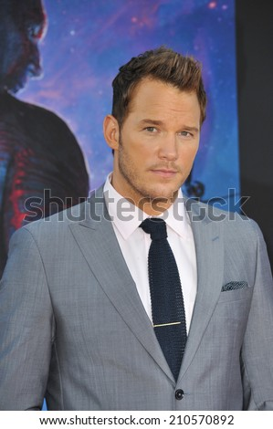 "LOS ANGELES, CA - JULY 21, 2014: Chris Pratt at the world premiere of his movie ""Guardians of the Galaxy"" at the El Capitan Theatre, Hollywood.  - stock photo"