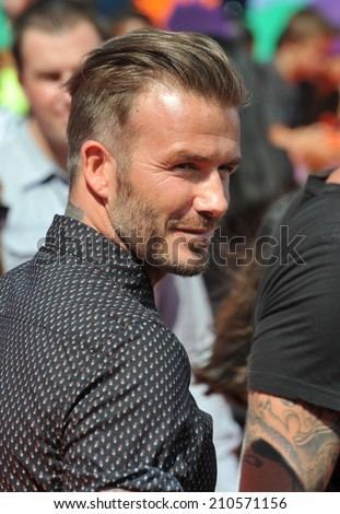 LOS ANGELES, CA - JULY 17, 2014: David Beckham at the first annual Nickelodeon Kids Choice Sports Awards at Pauley Pavilion, UCLA.  - stock photo