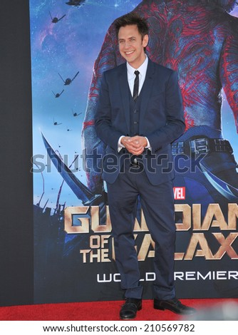 "LOS ANGELES, CA - JULY 21, 2014: Director James Gunn at the world premiere of his movie ""Guardians of the Galaxy"" at the El Capitan Theatre, Hollywood.  - stock photo"