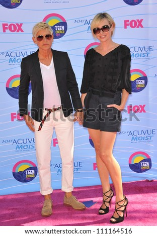 LOS ANGELES, CA - JULY 23, 2012: Ellen Degeneres & Portia De Rossi at the 2012 Teen Choice Awards at the Gibson Amphitheatre, Universal City. - stock photo