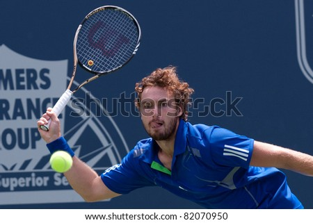 LOS ANGELES, CA. - JULY 31: Ernests Gulbis (LAT) in action during the 2011 Farmers Classic single final on July 31 2011 in Los Angeles.