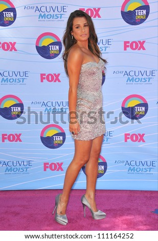 LOS ANGELES, CA - JULY 23, 2012: Glee star Lea Michele at the 2012 Teen Choice Awards at the Gibson Amphitheatre, Universal City.