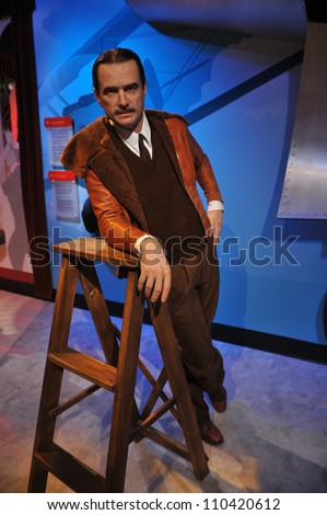 LOS ANGELES, CA - JULY 21, 2009: Howard Hughes waxwork figure - grand opening of Madame Tussauds Hollywood. - stock photo