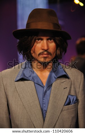 LOS ANGELES, CA - JULY 21, 2009: Johnny Depp waxwork figure - grand opening of Madame Tussauds Hollywood. - stock photo