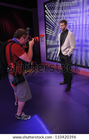 LOS ANGELES, CA - JULY 21, 2009: Justin Timberlake waxwork figure - grand opening of Madame Tussauds Hollywood. - stock photo