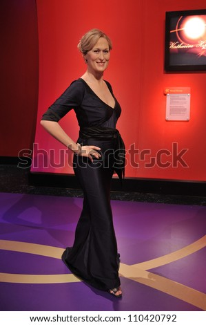 LOS ANGELES, CA - JULY 21, 2009: Meryl Streep waxwork figure - grand opening of Madame Tussauds Hollywood. - stock photo