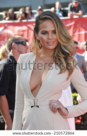 LOS ANGELES, CA - JULY 16, 2014: Model Christine Teigen at the 2014 ESPY Awards at the Nokia Theatre LA Live.  - stock photo