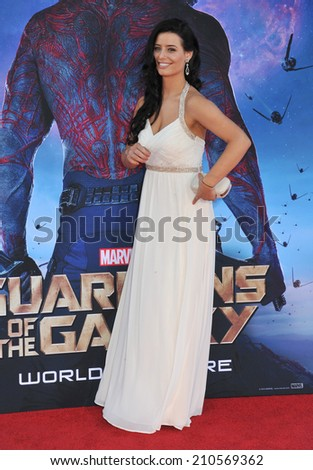 """LOS ANGELES, CA - JULY 21, 2014: Nicole Shipley at the world premiere of """"Guardians of the Galaxy"""" at the El Capitan Theatre, Hollywood.  - stock photo"""