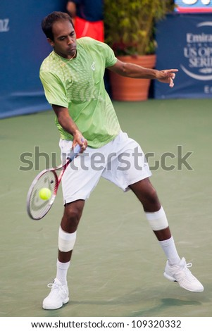LOS ANGELES, CA - JULY 28: Rajeev Ram in action during the Farmers Classic presented by Mercedes-Benz at the LA Tennis Center on July 28, 2012 in Los Angeles, California.