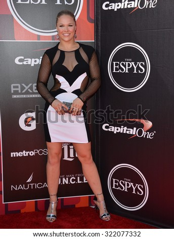 LOS ANGELES, CA - JULY 15, 2015: Ronda Rousey at the 2015 ESPY Awards at the Microsoft Theatre LA Live.