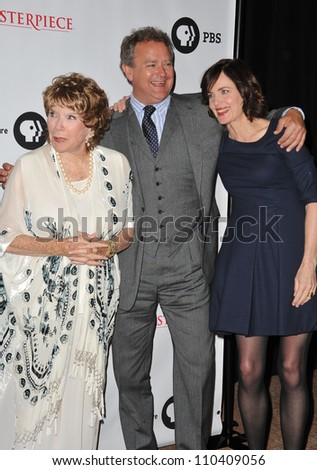 LOS ANGELES, CA - JULY 22, 2012: Shirley MacLaine, Hugh Bonneville & Elizabeth McGovern at photocall for the third series of Downton Abbey at the Beverly Hilton Hotel.