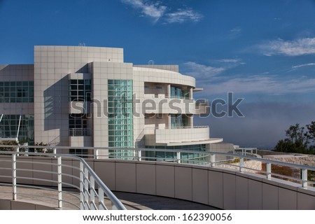 LOS ANGELES, CA - JULY 4, 2011: The Getty Center attracts more than 1.3 million visitors annually to it's hilltop location in Los Angeles California; July 4,2011. - stock photo