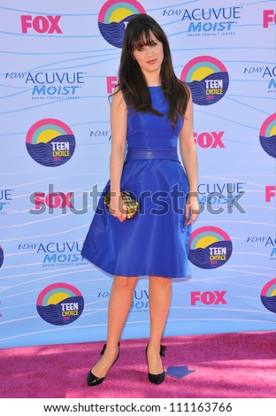 LOS ANGELES, CA - JULY 23, 2012: Zooey Deschanel at the 2012 Teen Choice Awards at the Gibson Amphitheatre, Universal City.