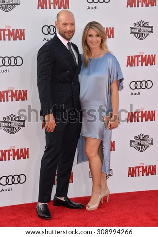 """LOS ANGELES, CA - JUNE 29, 2015: Actor Corey Stoll & wife Nadia Bowers at the world premiere of his movie """"Ant-Man"""" at the Dolby Theatre, Hollywood.  - stock photo"""