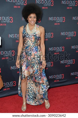 LOS ANGELES, CA - JUNE 5, 2015: Actress Amaris Davidson at the world premiere of her movie Insidious Chapter 3 at the TCL Chinese Theatre, Hollywood.  - stock photo