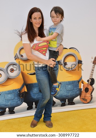 "LOS ANGELES, CA - JUNE 27, 2015: Actress Annie Wersching at the Los Angeles premiere of ""Minions"" at the Shrine Auditorium.  - stock photo"