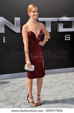 """LOS ANGELES, CA - JUNE 28, 2015: Actress Beth Behrs at the Los Angeles premiere of """"Terminator Genisys"""" at the Dolby Theatre, Hollywood.  - stock photo"""