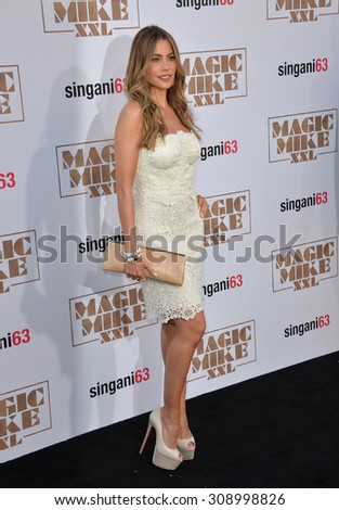"LOS ANGELES, CA - JUNE 25, 2015: Actress Sofia Vergara at the world premiere of ""Magic Mike XXL"" at the TCL Chinese Theatre, Hollywood.  - stock photo"