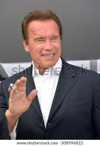 "LOS ANGELES, CA - JUNE 28, 2015: Arnold Schwarzenegger at the Los Angeles premiere of his movie ""Terminator Genisys"" at the Dolby Theatre, Hollywood.  - stock photo"