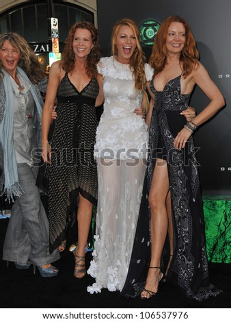 "LOS ANGELES, CA - JUNE 15, 2011: Blake Lively (in white) & mother (left) & sisters at the world premiere of ""Green Lantern"" at Grauman's Chinese Theatre, Hollywood. June 15, 2011  Los Angeles, CA - stock photo"