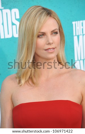 LOS ANGELES, CA - JUNE 4, 2012: Charlize Theron at the 2012 MTV Movie Awards at Universal Studios, Hollywood. June 4, 2012  Los Angeles, CA - stock photo