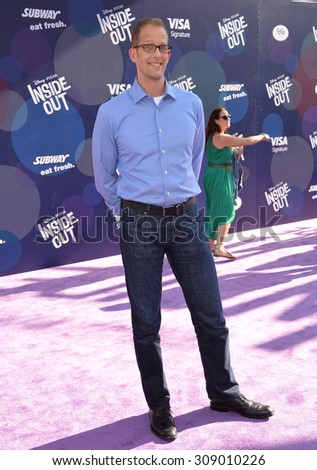 """LOS ANGELES, CA - JUNE 9, 2015: Director Pete Docter at the Los Angeles premiere of his movie Disney-Pixar's """"Inside Out"""" at the El Capitan Theatre, Hollywood.  - stock photo"""