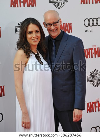 "LOS ANGELES, CA - JUNE 29, 2015: Director Peyton Reed & wife Sheila at the world premiere of his movie ""Ant-Man"" at the Dolby Theatre, Hollywood. - stock photo"