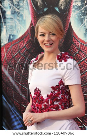 "LOS ANGELES, CA - JUNE 29, 2012: Emma Stone at the world premiere of her movie ""The Amazing Spider-Man"" at Regency Village Theatre, Westwood."