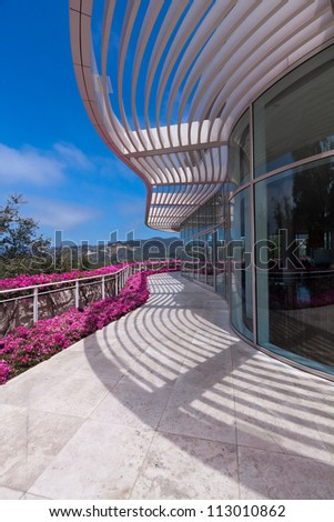 LOS ANGELES, CA - JUNE 16, 2012:  Flowers bloom at The Getty Center in Los Angeles, CA on 16 June 2012 attracting 1.3 million visitors annually. - stock photo