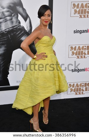 "LOS ANGELES, CA - JUNE 25, 2015: Jada Pinkett Smith at the world premiere of her movie ""Magic Mike XXL"" at the TCL Chinese Theatre, Hollywood. - stock photo"
