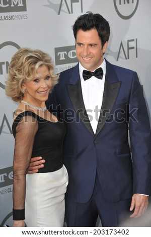 LOS ANGELES, CA - JUNE 5, 2014: Jane Fonda & actor son Troy Garity at the 2014 American Film Institute's Life Achievement Awards honoring Jane Fonda, at the Dolby Theatre, Hollywood.  - stock photo