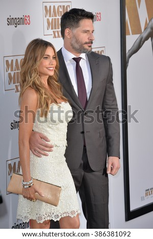 """LOS ANGELES, CA - JUNE 25, 2015: Joe Manganiello & fiance Sofia Vergara at the world premiere of his movie """"Magic Mike XXL"""" at the TCL Chinese Theatre, Hollywood. - stock photo"""