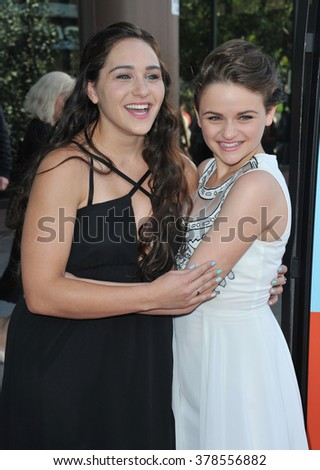 """LOS ANGELES, CA - JUNE 23, 2014: Joey King & sister Kelli King (left) at the Los Angeles premiere of Joey's movie """"Wish I Was Here"""" at the Directors Guild Theatre. - stock photo"""
