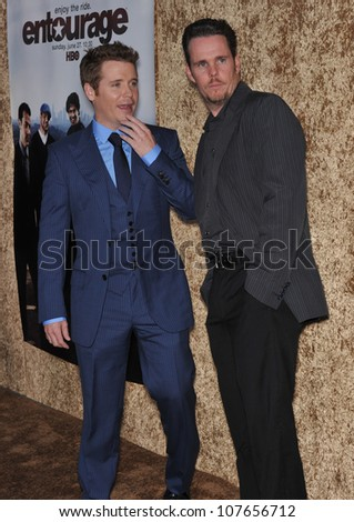 "LOS ANGELES, CA - JUNE 16, 2010: Kevin Connolly (blue suit) & Kevin Dillon at the season seven premiere of their TV series ""Entourage"" at Paramount Studios, Hollywood."