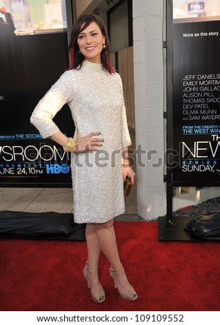 """LOS ANGELES, CA - JUNE 21, 2012: Michelle Forbes at the Los Angeles premiere for HBO's new series """"The Newsroom"""" at the Cinerama Dome, Hollywood. - stock photo"""