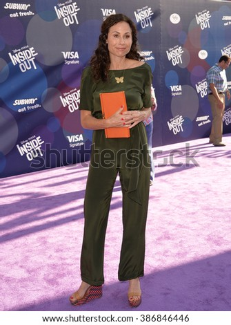 "LOS ANGELES, CA - JUNE 9, 2015: Minnie Driver at the Los Angeles premiere of Disney-Pixar's ""Inside Out"" at the El Capitan Theatre, Hollywood."