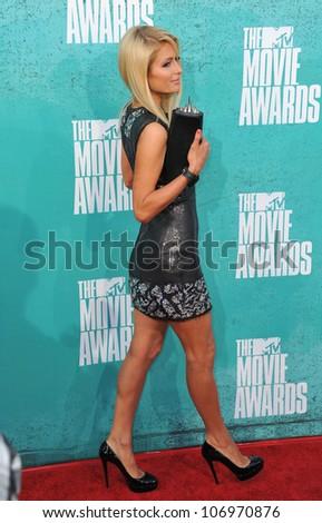 LOS ANGELES, CA - JUNE 4, 2012: Paris Hilton at the 2012 MTV Movie Awards at Universal Studios, Hollywood. June 4, 2012  Los Angeles, CA - stock photo